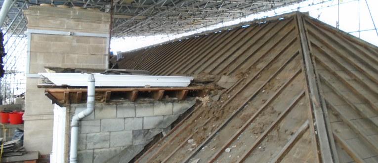 Stripped roof, work in progress